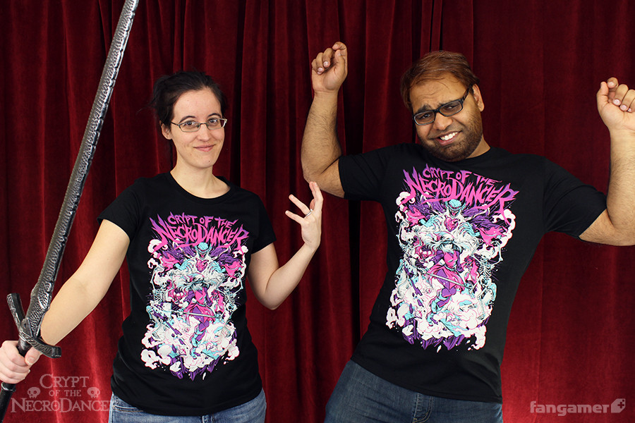 "Fangamer staff modeling ""Monster Mosh"""